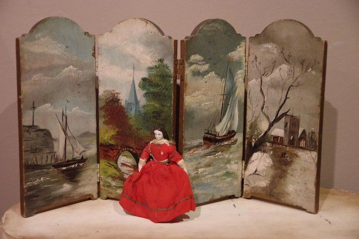 Beautiful Painted Folding Screen Dollhouse | Toys and dolls