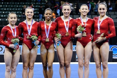 The U.S. women's gymnastics team takes gold at the 2012 Kellogg's Pacific Rim team competition.  Photo features (L-R) Katelyn Ohashi, Amelia Hundley, Gabrielle Douglas, Lexie Preissman, Kyla Ross and Jordyn Wieber.