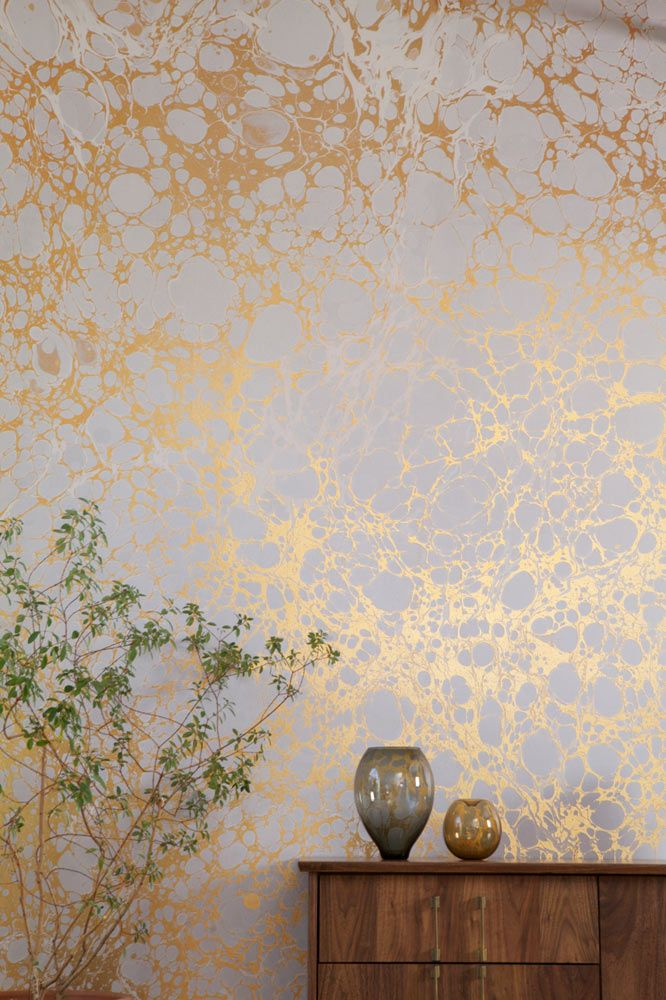 Calico-Wallpaper-2-Wabi. Nice organic, non repetitive looking pattern. More wall art than wallpaper. gold & white