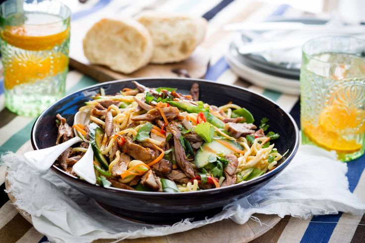 Angela Casley's duck and noodle salad with hoisin dressing is light and tasty.