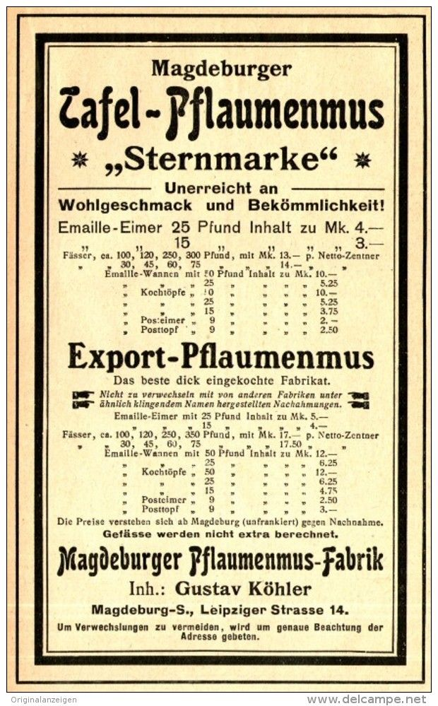 Original-Werbung/ Anzeige 1905 - TAFEL - PFLAUMENMUS / GUSTAV KÖHLER - MAGDEBURG…
