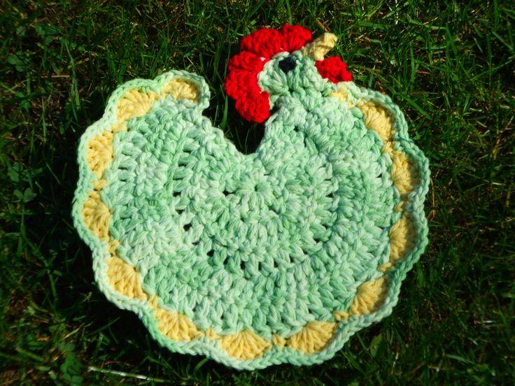 Free Crochet Pattern Rooster Pot Holder : My Crocheted Henrietta Chicken Potholder using cotton yarn ...