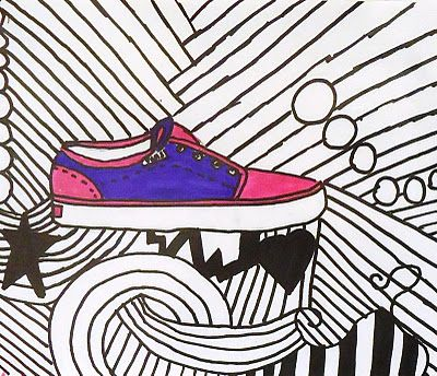 This website has a lesson plan idea that I really liked; Hip Hop Contour Line Shoes.