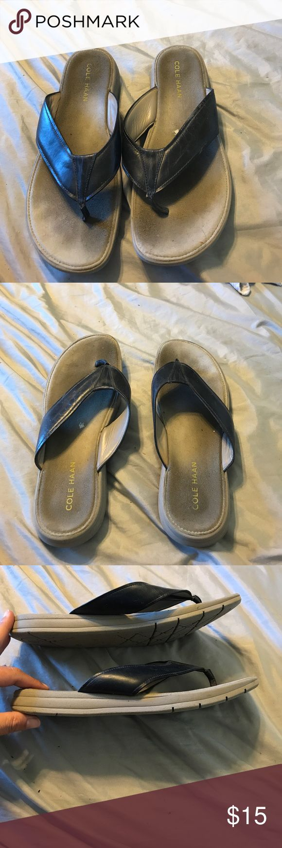 Cole Haan Nike air navy flip flop sandal Leather thong. Putty rubber sole. Cole Haan Shoes Sandals & Flip-Flops