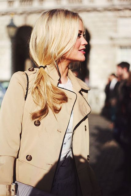 {style inspiration | at the office : the classic trench & a side ponytail} by {this is glamorous}, via Flickr