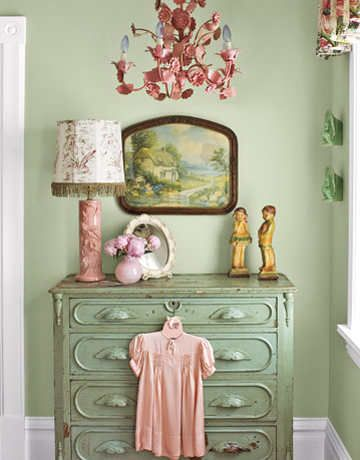 House interior tour - A corner of a guest bedroom reflects her passion for colour, here a soothing combination of candy pink