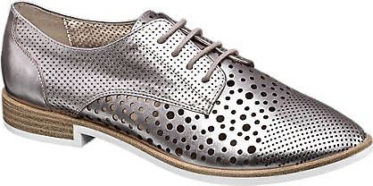Star Collection Ladies' Silver Chop Out Lace-up Shoes   Deichmann