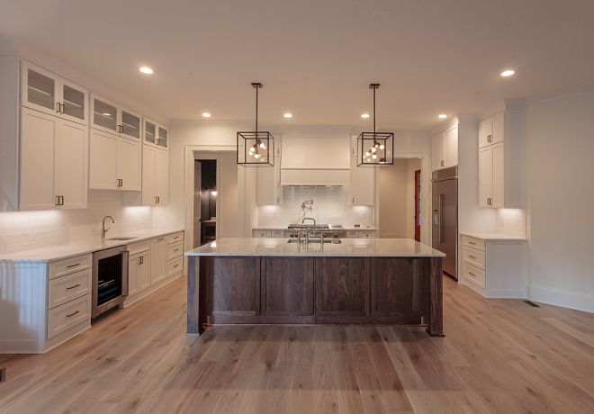 Bm Super White Kitchen Cabinets With Walnut Island And Light White Oak Hardwood Flooring Walnut Wood Kitchen Walnut Kitchen Cabinets White Oak Hardwood Floors