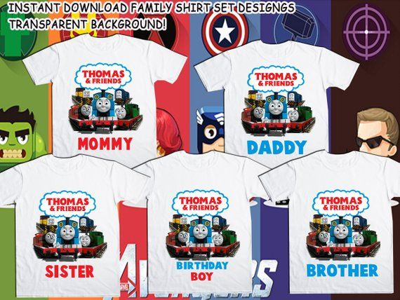 7d485dc5b Family Bundle Thomas Train T-Shirt Design - Thomas Iron On Transfer -  Birthday BOY/GIRL - Mom - Dad | Products in 2019 | Thomas the Train, Iron  on transfer, ...