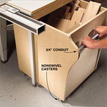 Hideaway Bin for Short Stock - Woodworking Shop - American Woodworker
