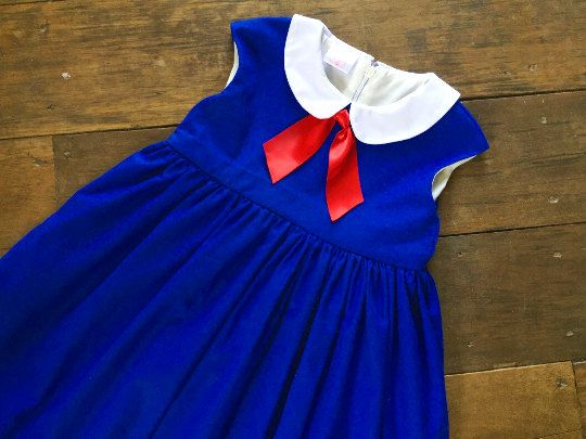 This dress made from 100% cotton fabric.The back is a zipper.Comfortable to wear.Ideal for special occasions, birthday party or everyday.  Sizes./ Chrest. 6 months/18 12 months/19 18 Months/19.5 2T/20.5 3T/21 4T/22 5/23 6/24 7/26 8/27  This listing for the hat and cape. https://www.etsy.com/listing/465958202/madeline-costume-madeline-cape-madeline?ref=shop_home_active_1