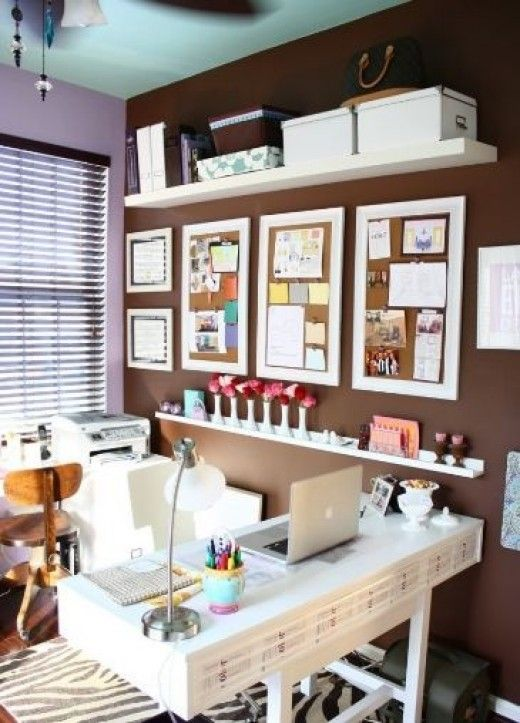 Framed cork boards, whiteboard paint, storage solutions, and more tips for organizing and personalizing your home office!