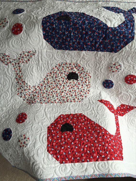Whale Quilt Blanket Baby Boy Quilt Nautical Quilt