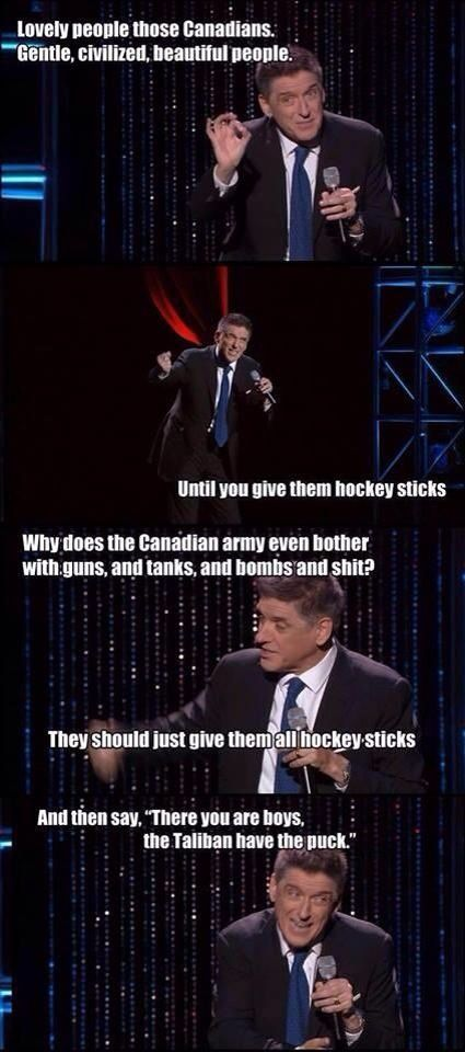 Canadians with hockey sticks