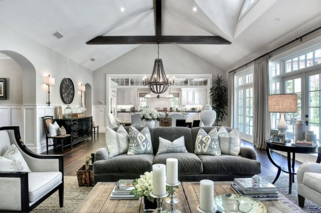 Love this room. Similar open concept to our kitchen/grand room. Want a similar clock over the kitchen desk. Will do similar furniture layout. The jute rug makes sense with a dog/baby? Coffee table dimensions are good