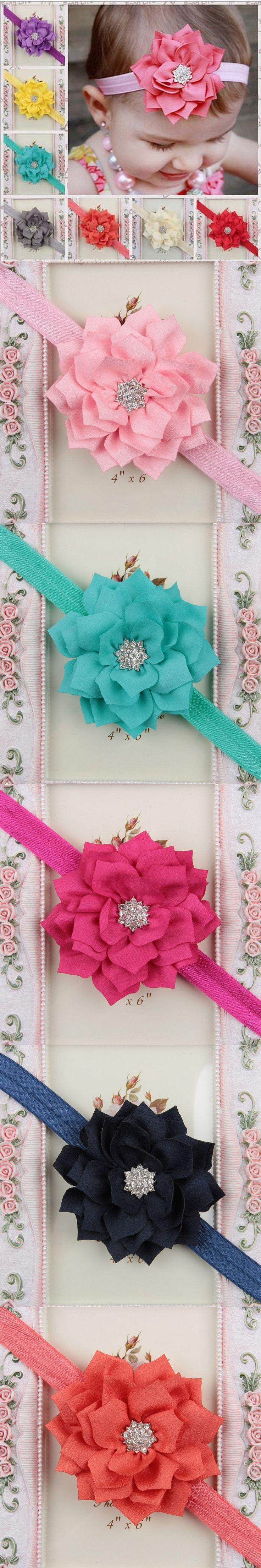 Teen Headband Silk Flower Baby Headband W/ Star Rhinestone Newborn Headband Toddler Headbands decoration for hair $9.98