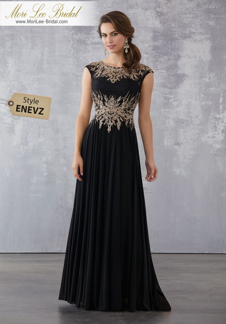 Style ENEVZ  Stretch Mesh Special Occasion Dress with Beaded Metallic, Embroidered Appliqués on Lace Bodice  Beaded Metallic, Embroidered Appliqués on Lace with Stretch Mesh. Matching Stole. Colors Available: Black/Gold, Champagne/Gold