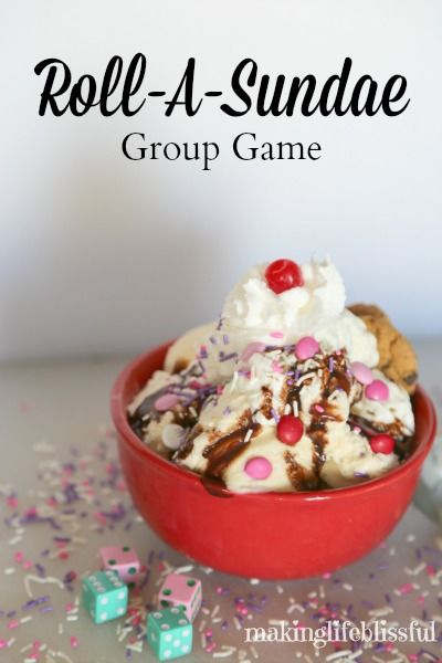 Roll-A-Sundae Ice Cream Party Game!  Would be perfect game for Valentine's Day!