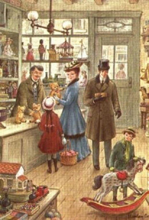 Old Christmas Postcards - toy shop posted by Redlandspoodles.com