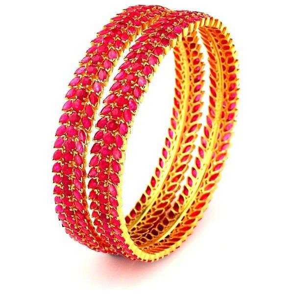 South Indian Bridal Ruby Bangles found on Polyvore featuring jewelry, bracelets, ruby bangle bracelet, ruby bangles, indian jewellery, bracelet bangle and bridal jewelry