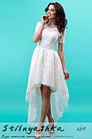 Вечернее платье Каскад белое 4297