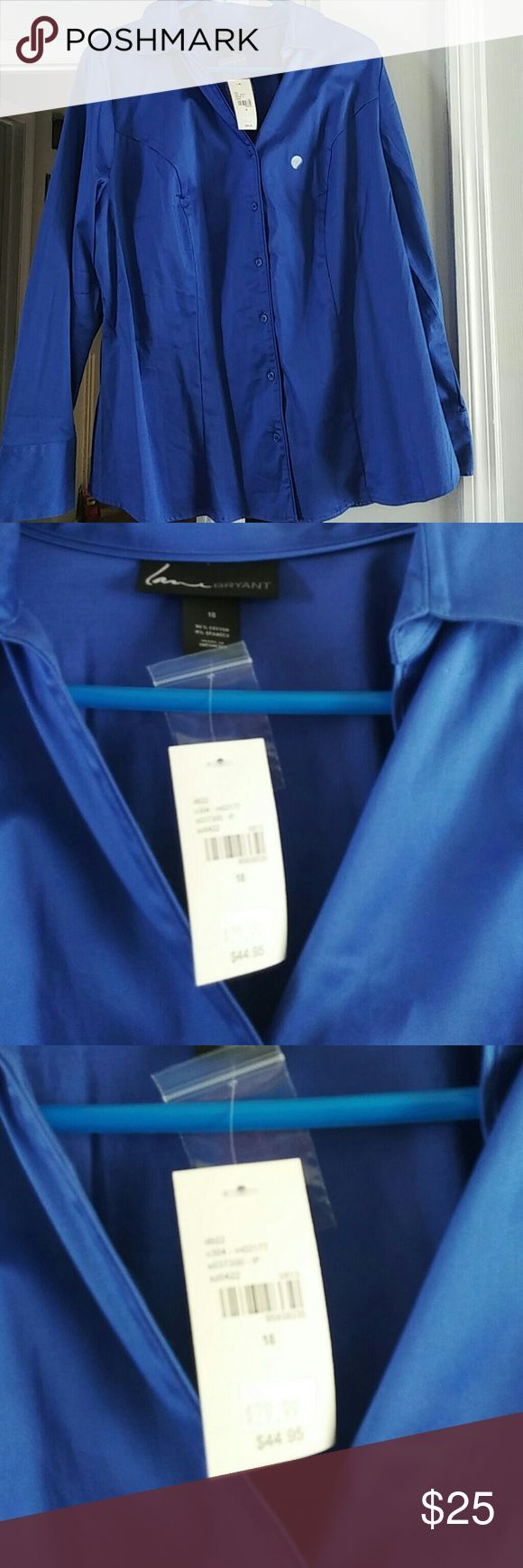Plus size lane Bryant shirt Blue button down shirt. I have the brown cami that goes with this color in my closet. Lane Bryant Tops Button Down Shirts