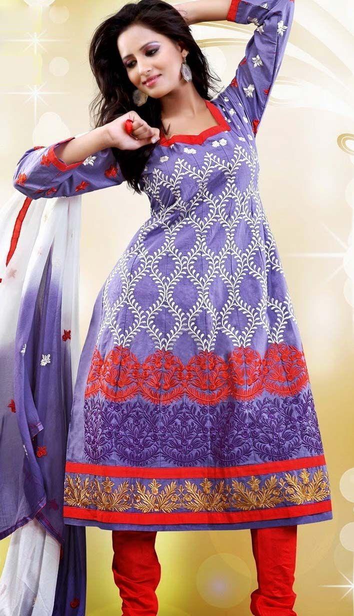Indian Anarkali Dresses | Indian Designer Beautiful Purple Cotton Churidar Kameez Anarkali Dress ...