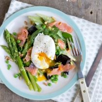 Salade met gepocheerd ei en gerookte zalm