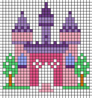 Small princess castle chart for cross stitch, knitting, knotting, beading, weaving, pixel art, and other crafting projects.