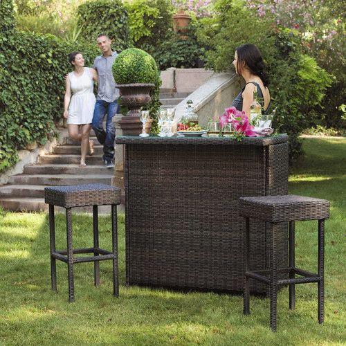 Mobile da bar + 2 sgabelli da giardino in resina intrecciati marroni L 103 cm