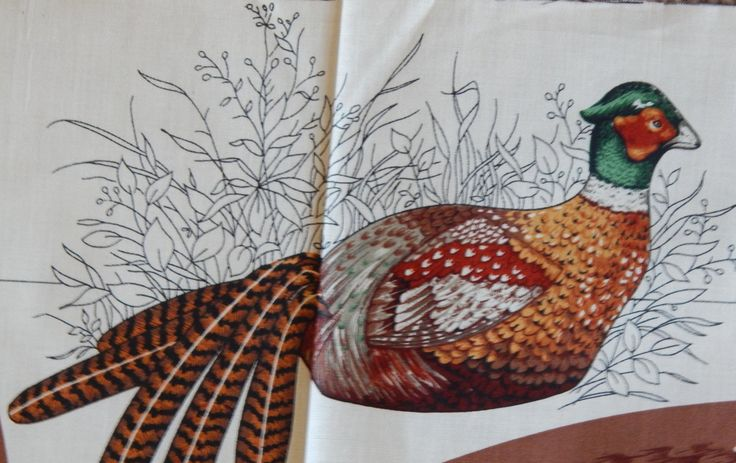 Pheasant Fabric Panel/Total 36 Inches Long/Vintage Cut Sew & Stuff/Brown Ring Necked Pheasant Cranston/center piece, home decor, cabin,lodge by RedWickerBasket on Etsy