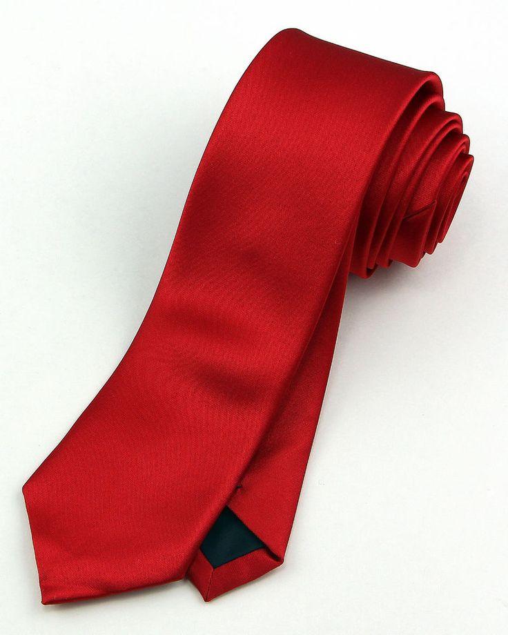 new 2 skinny mens necktie slim narrow plain solid satin sheen valentine red tie