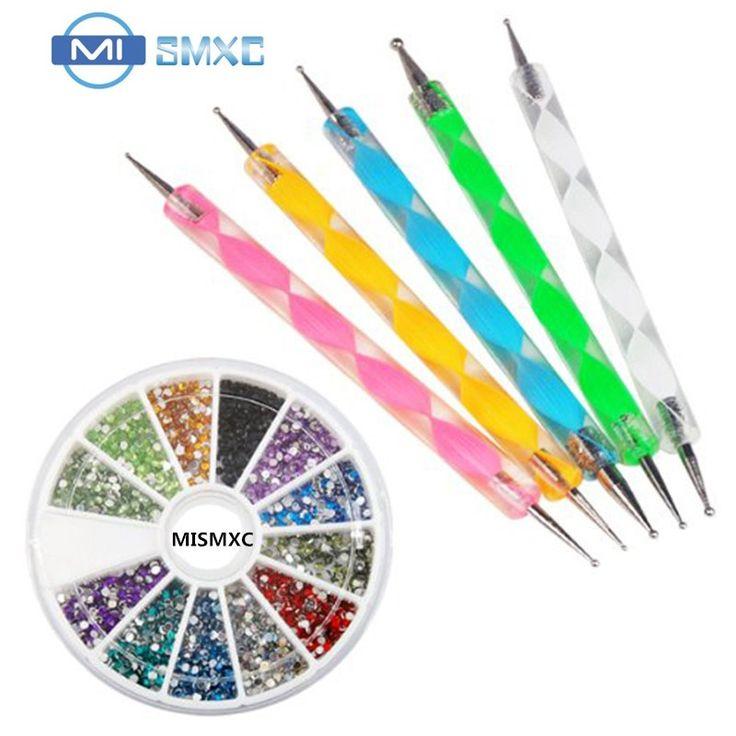 MISMXC Free Shipping 5pcs Double Way Dotting Pen Set with Free 1200pcs Nail Art Rhinestone Wheel Round Set