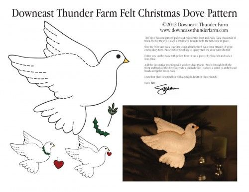 Christmas Dove Felt Ornmanet Pattern, Stuffed Animal Pattern, How to Make a Toy Animal Plushie Tutorial Plushies Tutorial , BIRDS Diy Projects, Sewing Template , animals, plush, soft, plush, toy, pattern, template, sewing, diy , crafts, kawaii, cute, sew, pattern,free bird template, bird, handmade, free pdf
