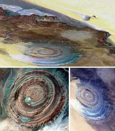 NATURAL: Eye of the Sahara, Mauritania Africa, at first thought to be a meteor crater the 30 mile wide feature may actually be just an eroded rock outcrop, Astronauts say it's a huge eye looking at them