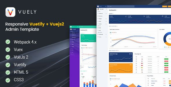 Vuely is a fully responsive admin template developed with Vuejs 2