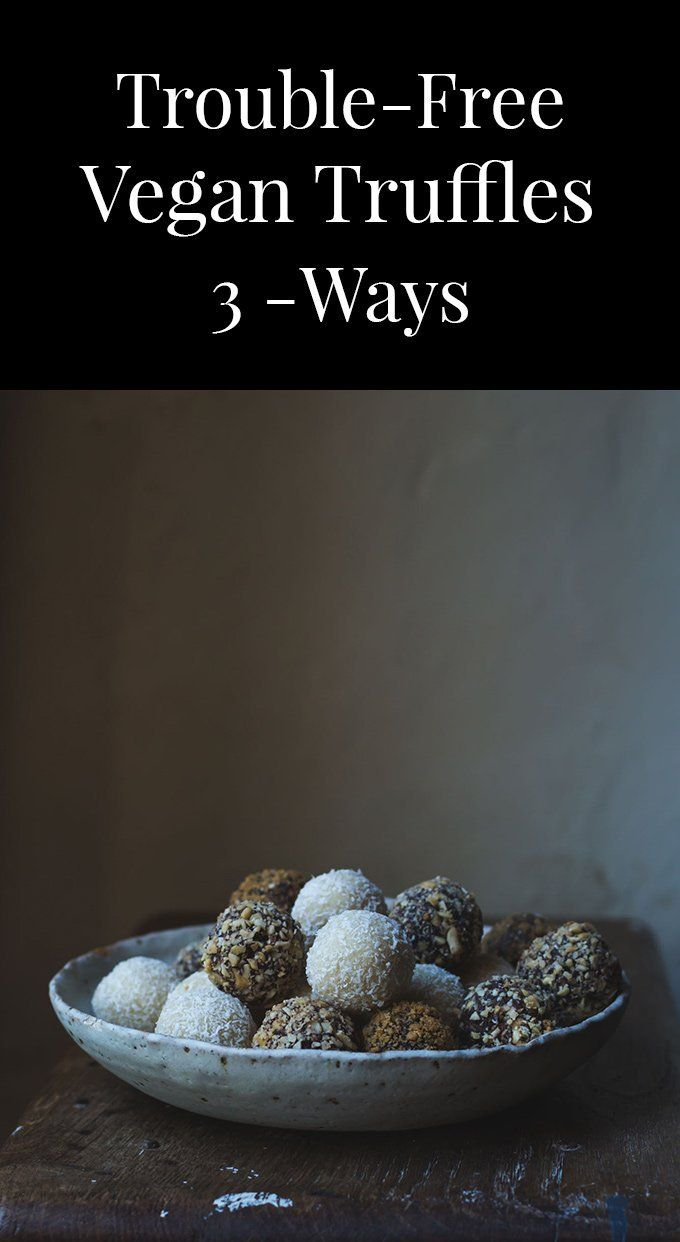 Trouble-Free Vegan Truffles, 3-ways because I love them all best; one white and dreamy, one dark and salty and the last brimming with Christmas flavours.