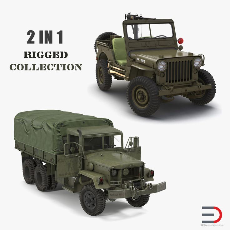 3D US WWII Rigged Vehicles Collection model
