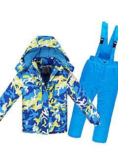 Enfant+Veste+&+Pantalons+de+Ski+Chaud+Etanche+Pare-vent+Vestimentaire+Antistatique+Ski+Ecologique+Polyester+Cuir+PU+–+EUR+€+113.98