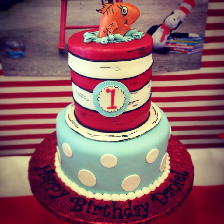 Cat in the hat birthday -thing one and thing two -decoration-party-first birthday- cat in the hat cake