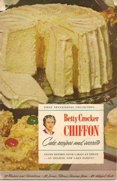 Betty Crocker Chiffon Cake Recipes and Secrets (1948) Includes recipe for Orange Chiffon Cake-