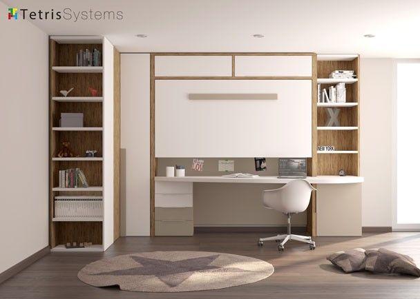 Juvenil cama alta plegable y escritorio especial camas - Habitaciones juveniles camas abatibles horizontales ...