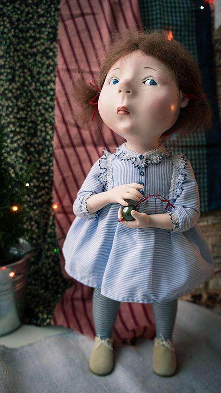 В ожидании Нового года - голубой,Новый Год,авторская кукла,ручная работа