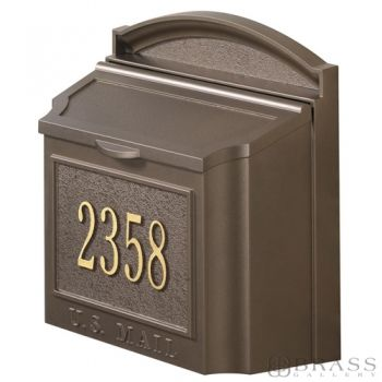 Whitehall - Wall Mount Personalized French Bronze Residential Mailbox
