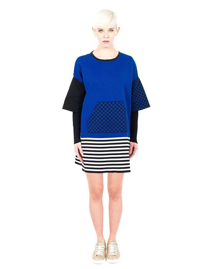 AKEP Multicolor short dress round neckline long split sleeves one large front pocket 100% NY