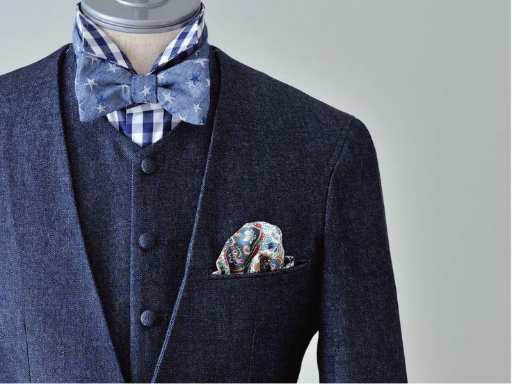新郎衣装,デニムノーカラースーツ,カジュアルウェディングスタイル  #新郎衣装