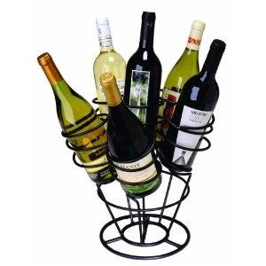Oenophilia 6-Bottle Bouquet Wine Rack, Black