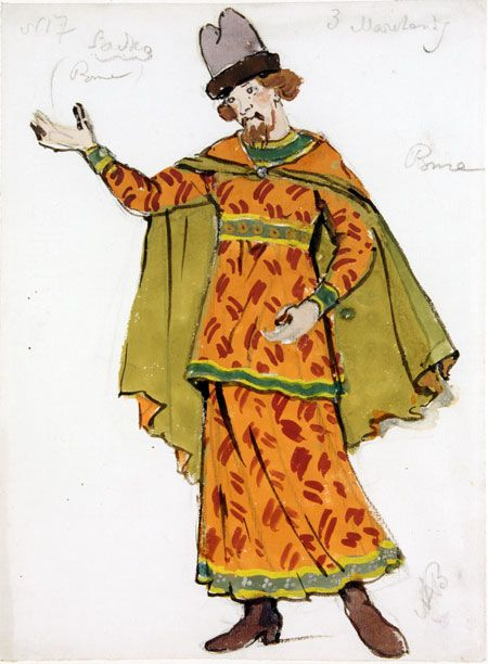 Бенуа А.. Two Costume Designs for Sadko