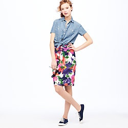 : Gardens Floral, Floral Prints, Floral Skirts, Bright Floral, J Crew, Chambray Shirts, Floral Pencil Skirts, Jcrew, Floral Denim