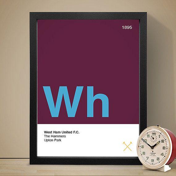 West Ham United Football Club Poster, Football Poster, A4 Football Print, Football Gift
